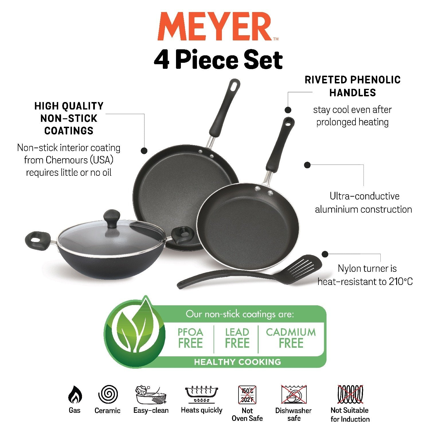 Meyer Non-Stick 5pcs Cookware Set (28cm Flat Dosa Tawa + 24cm Frypan + 24cm Kadai + Nylon Turner) - Pots and Pans