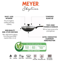 Meyer Skyline Non-Stick Stirfry with Lid 28cm, Grey - Pots and Pans