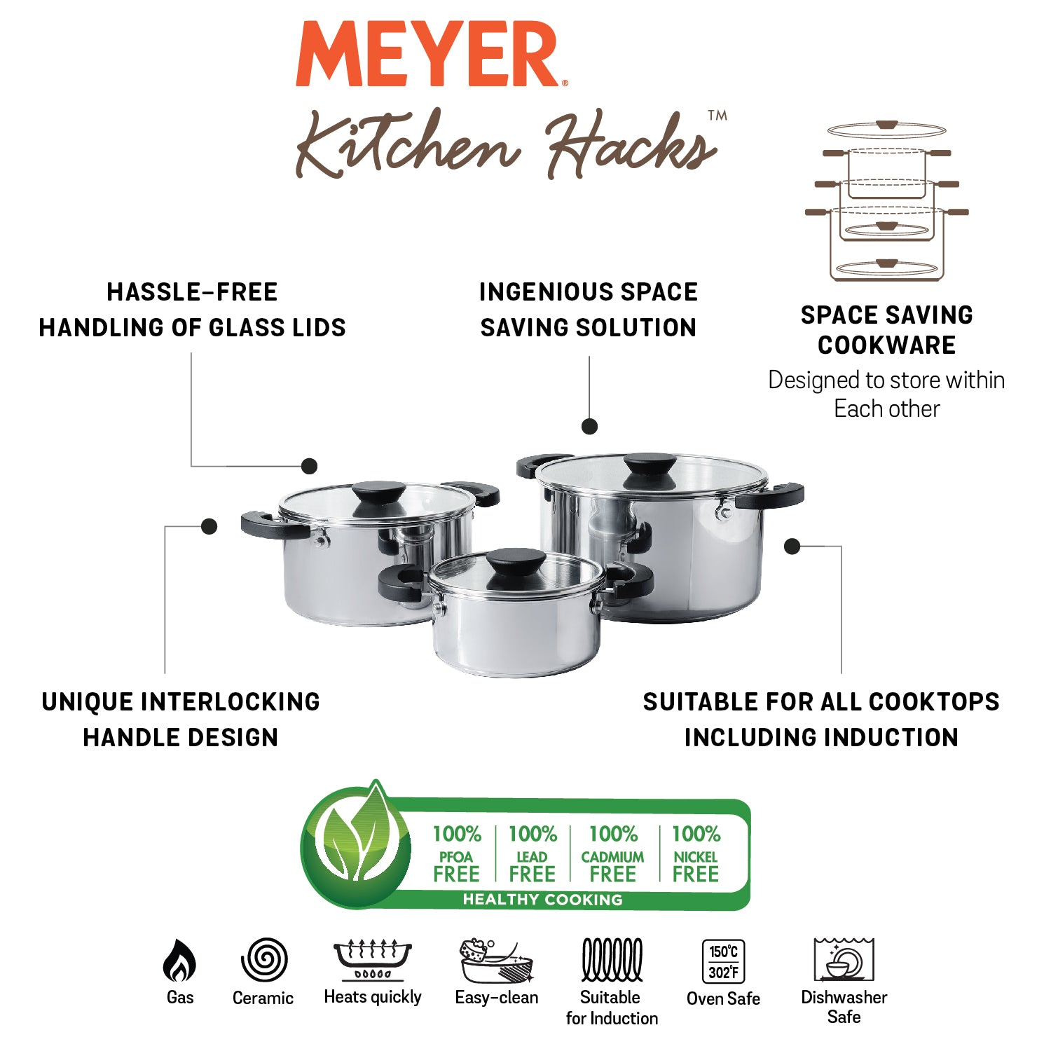 Meyer Kitchen Hacks 3 Piece Casserole Biryani Pot Set - Pots and Pans