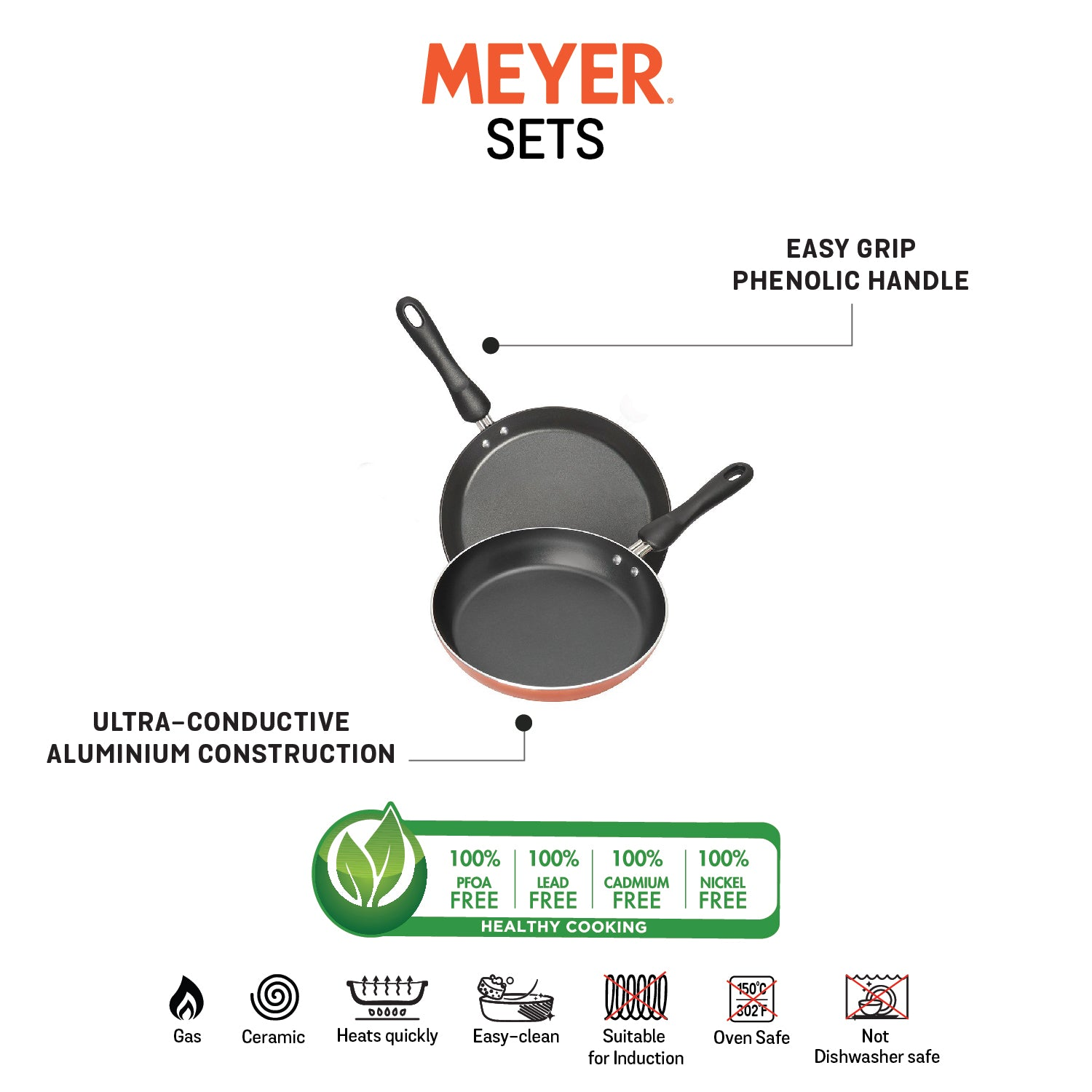 Meyer Non-Stick 2-Piece Cookware Set, Frypan + Flat Tawa (Suitable For Gas & Electric Cooktops) - Pots and Pans