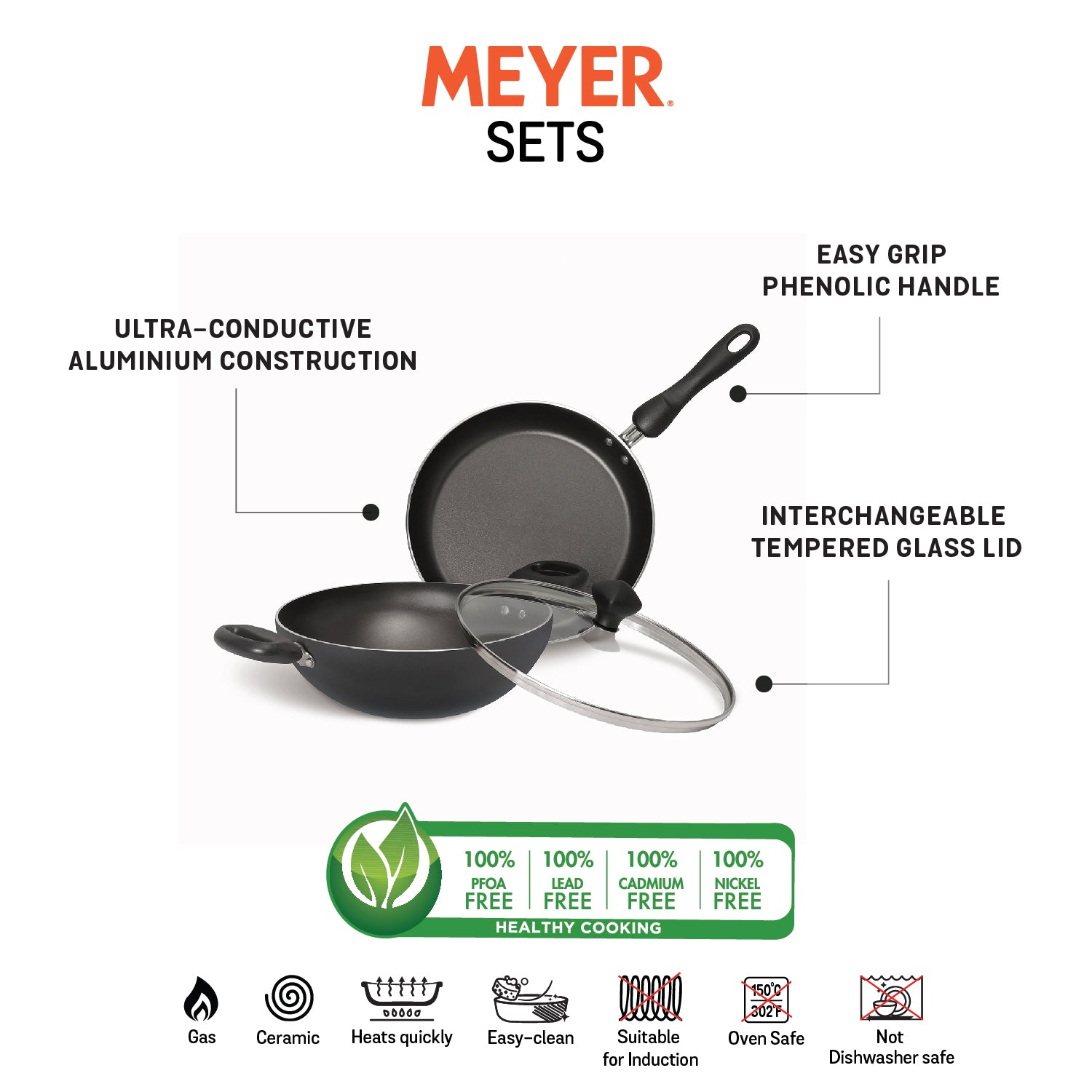 Meyer Non-Stick 3pcs Set, 24cm Frypan + 24cm Kadai with Interchangeable Lid - Pots and Pans
