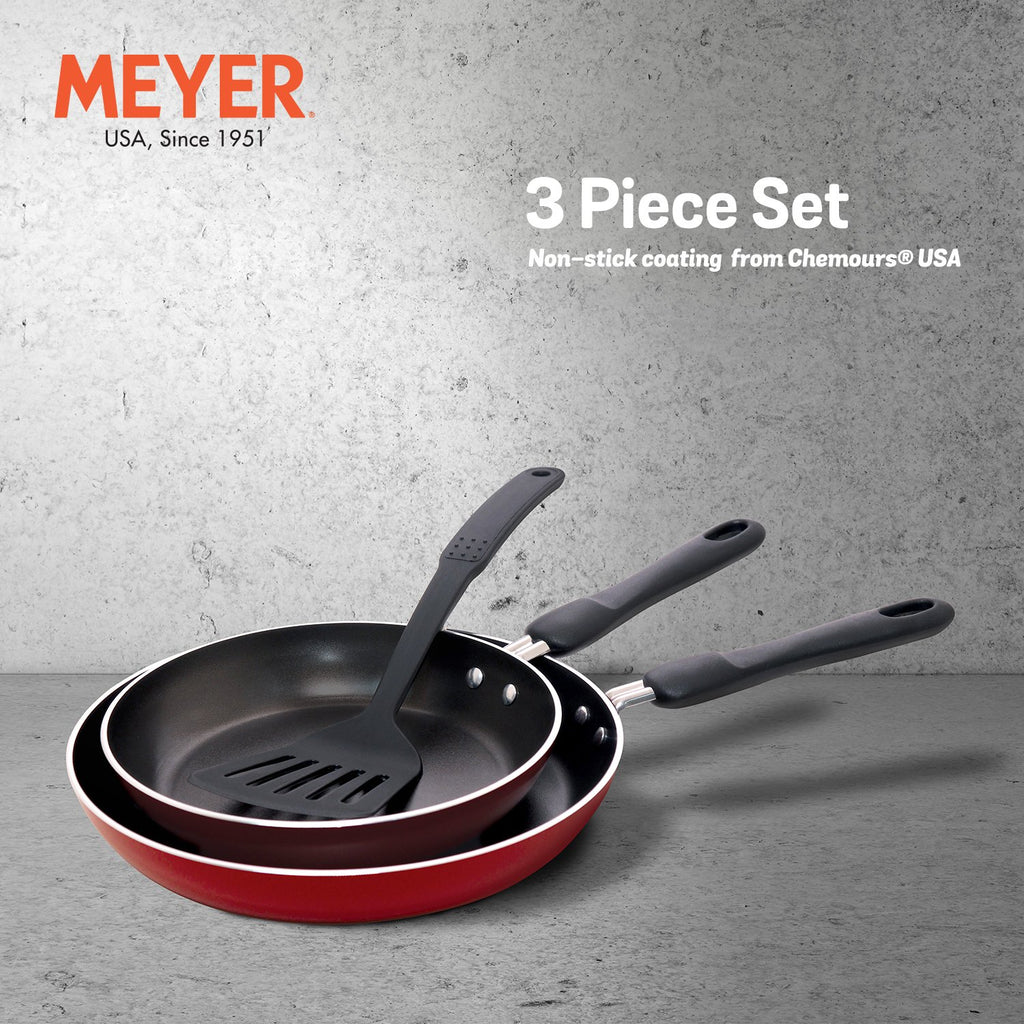 Meyer Non-Stick 3pcs Set - Frypans 20cm + 24cm with Accessory (Not Suitable For Induction) - Pots and Pans