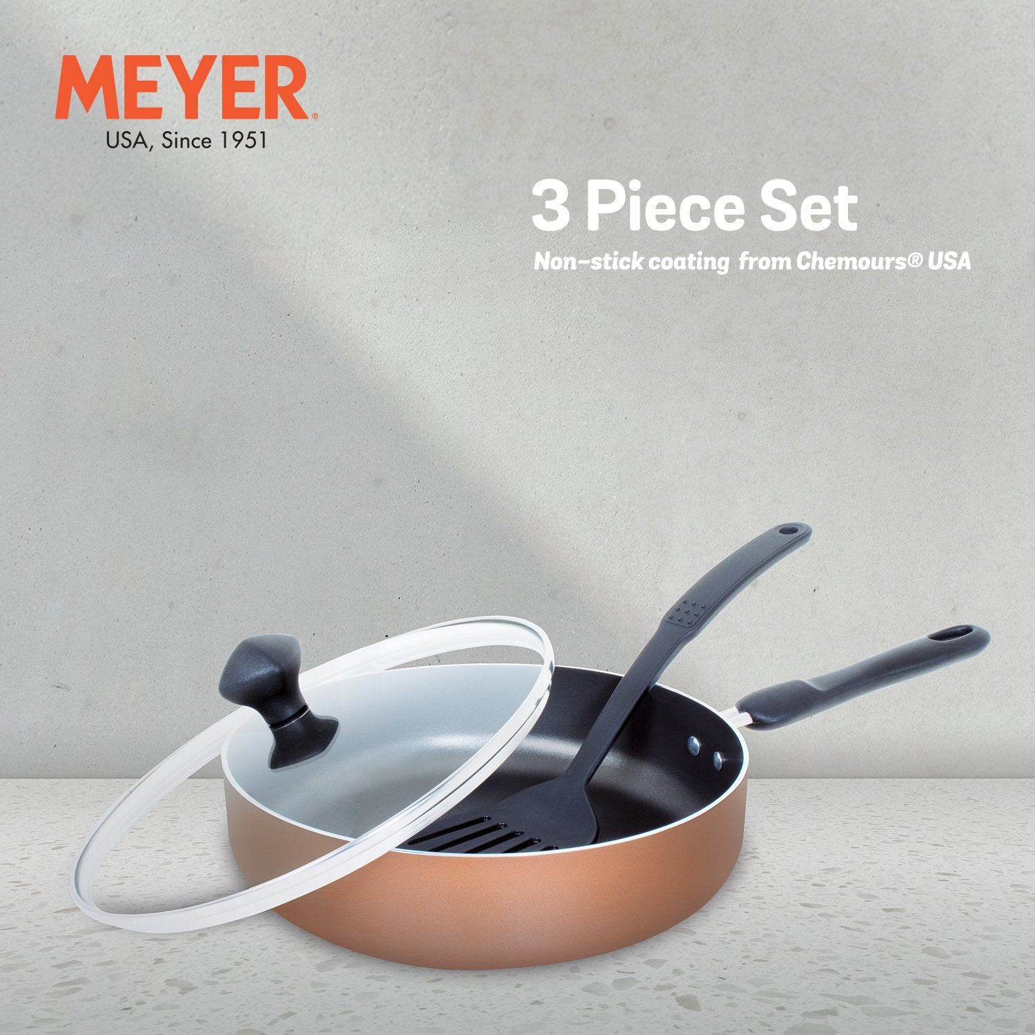 Meyer 3-Piece Cookware Set, Sautepan With Accessory (Not Suitable For Induction)