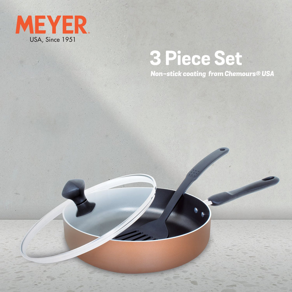 Meyer Non-Stick 3pcs Set, Sautepan with Lid & Accessory (Not Suitable For Induction) - Pots and Pans