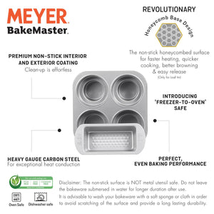 Meyer Bakemaster 2-Piece Bakeware Set - 1 LB Loaf Tin + 4 Cup Round Cakelette Pan - Pots and Pans