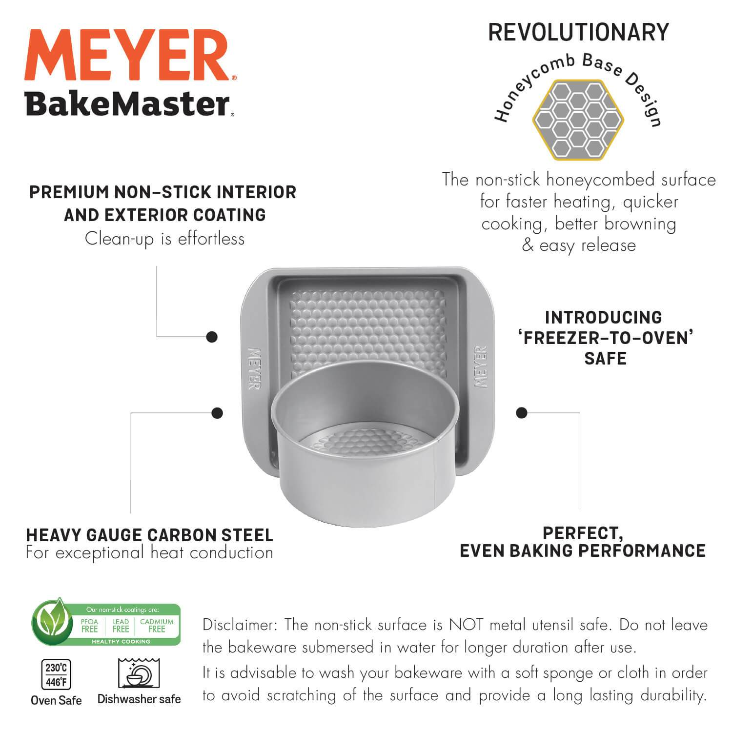 "Meyer Bakemaster 2-Piece Bakeware Set - 20cm/8"" Loose Base Cake Tin + 23cm/9"" Square Cake Pan - Pots and Pans"
