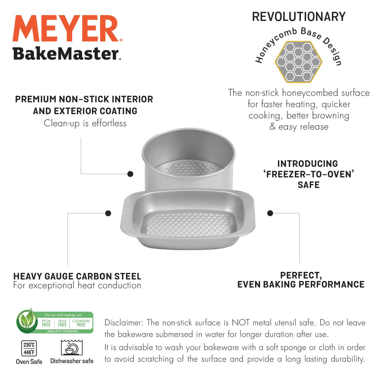 "Meyer Bakemaster 2-Piece Bakeware Set - 20cm/8"" Loose Base Cake Tin + Mini Oven Roaster - Pots and Pans"