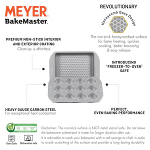 "Meyer Bakemaster 2-Piece Bakeware Set - 23cm/9"" Square Cake Pan + 12 Cup Mini Muffin Pan - Pots and Pans"