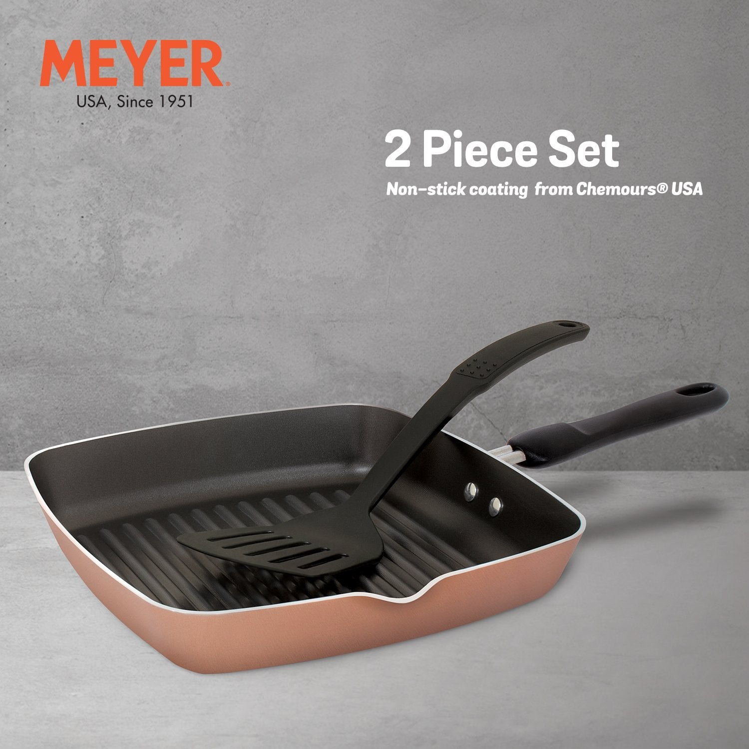 MEYER NON-STICK 2-PIECE COOKWARE SET, GRILLPAN WITH ACCESSORY (SUITABLE FOR GAS & ELECTRIC COOKTOPS)