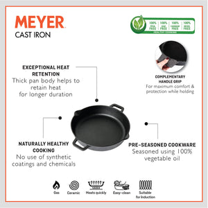 Meyer Pre Seasoned Cast Iron 2 Piece cookware Set 24cm Skillet + 28cm Flat Dosa tawa - Pots and Pans
