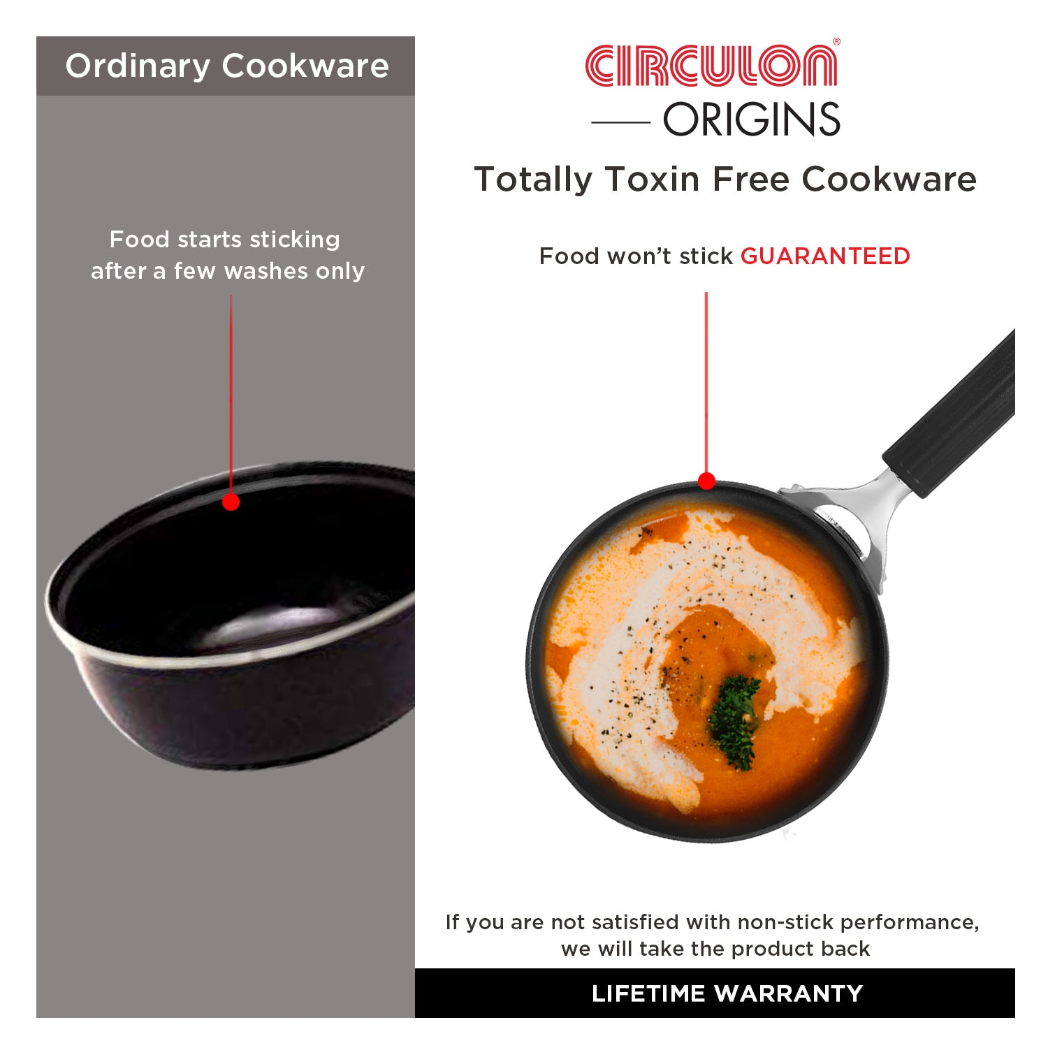 Circulon Origins 20cm Saucepan Non-Stick + Hard Anodized, Grey (Suitable For Gas & Induction) - Pots and Pans