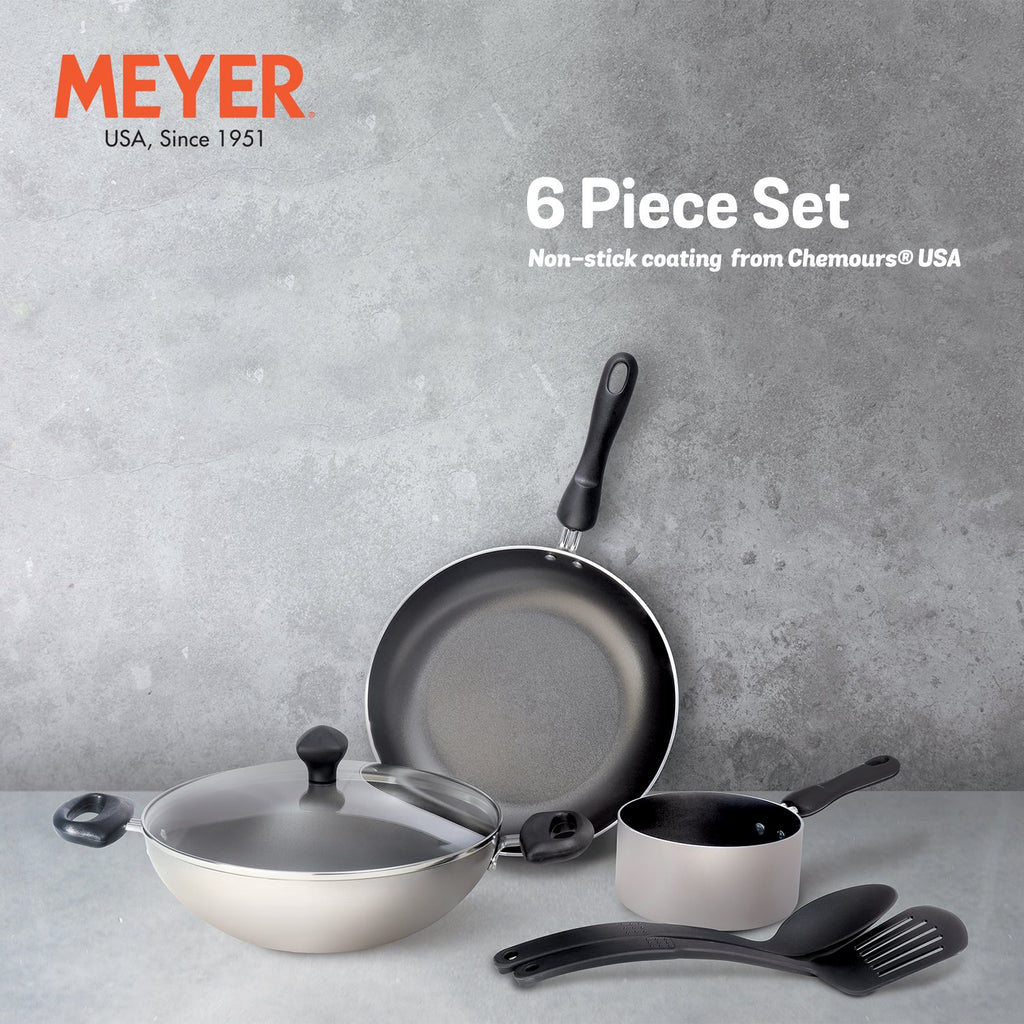 Meyer Non-Stick 6pcs Set (14cm Milkpan+26cm Frypan+26cm Kadai+Nylon Turner+Nylon Spoon) - Pots and Pans