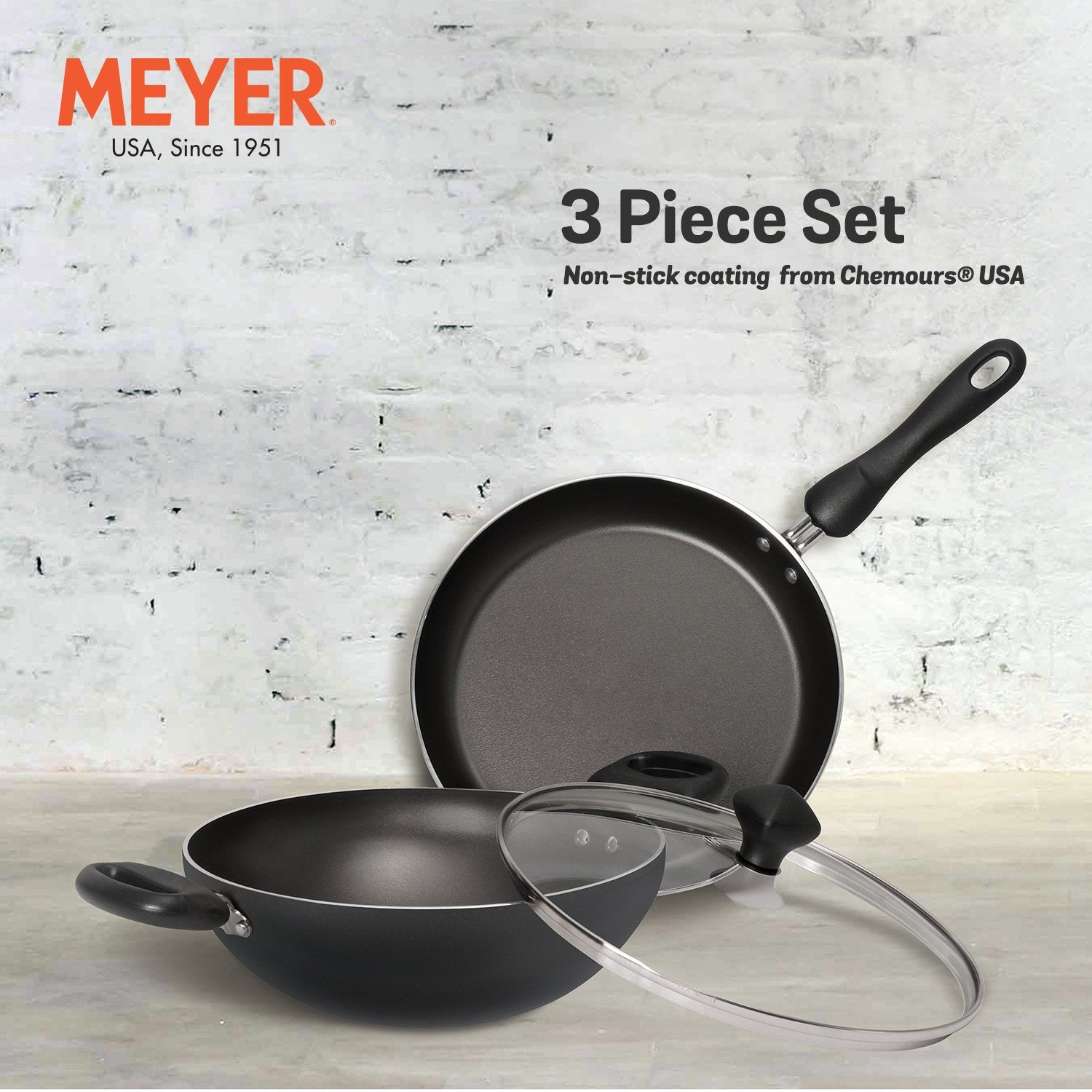 Meyer Non-Stick 3-Piece Cookware Set, Kadai + Frypan (Suitable For Gas & Electric Cooktops) - Pots and Pans