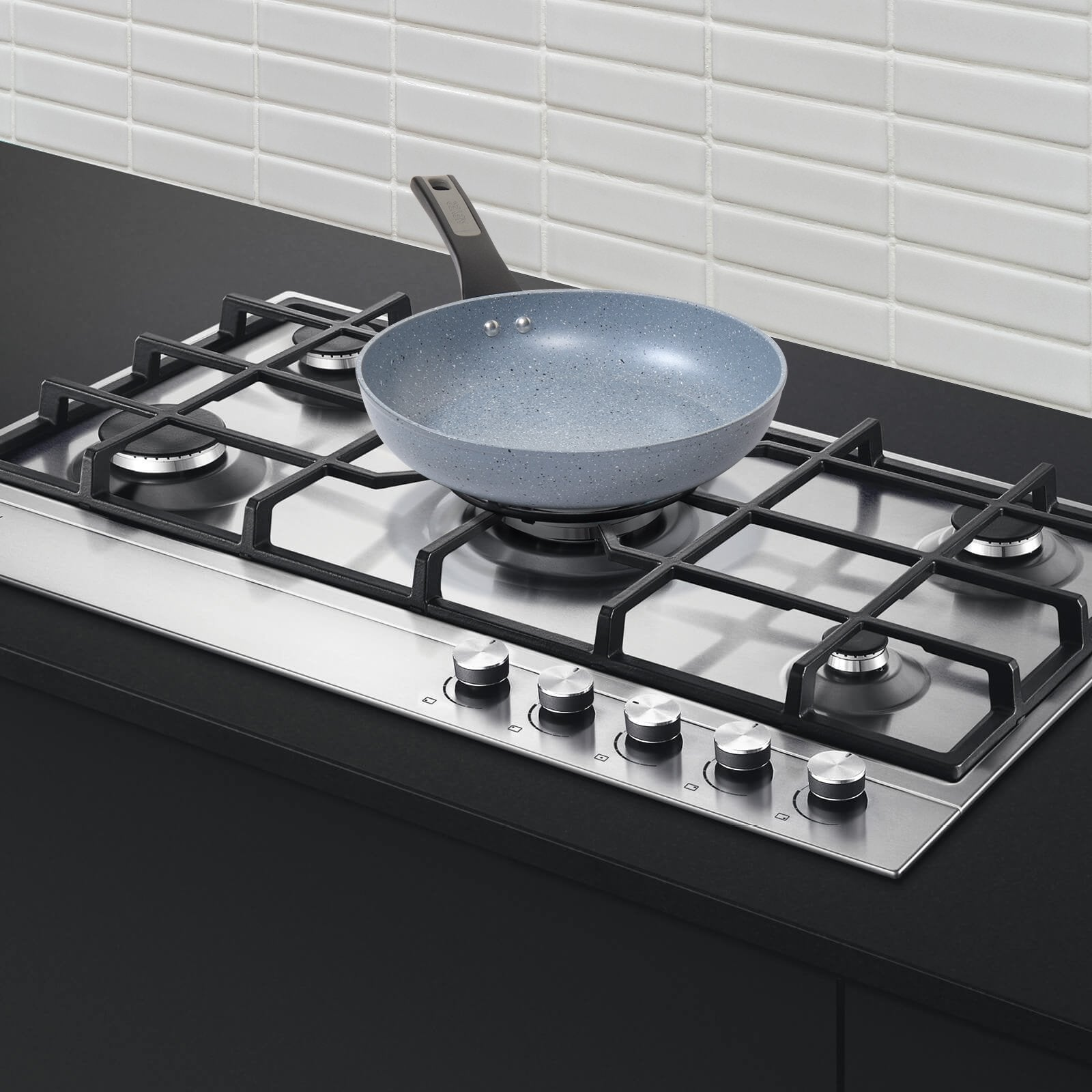 Forgestone Non-Stick Frypan 25cm, Stone Grey [Induction & Gas Compatible] - Pots and Pans