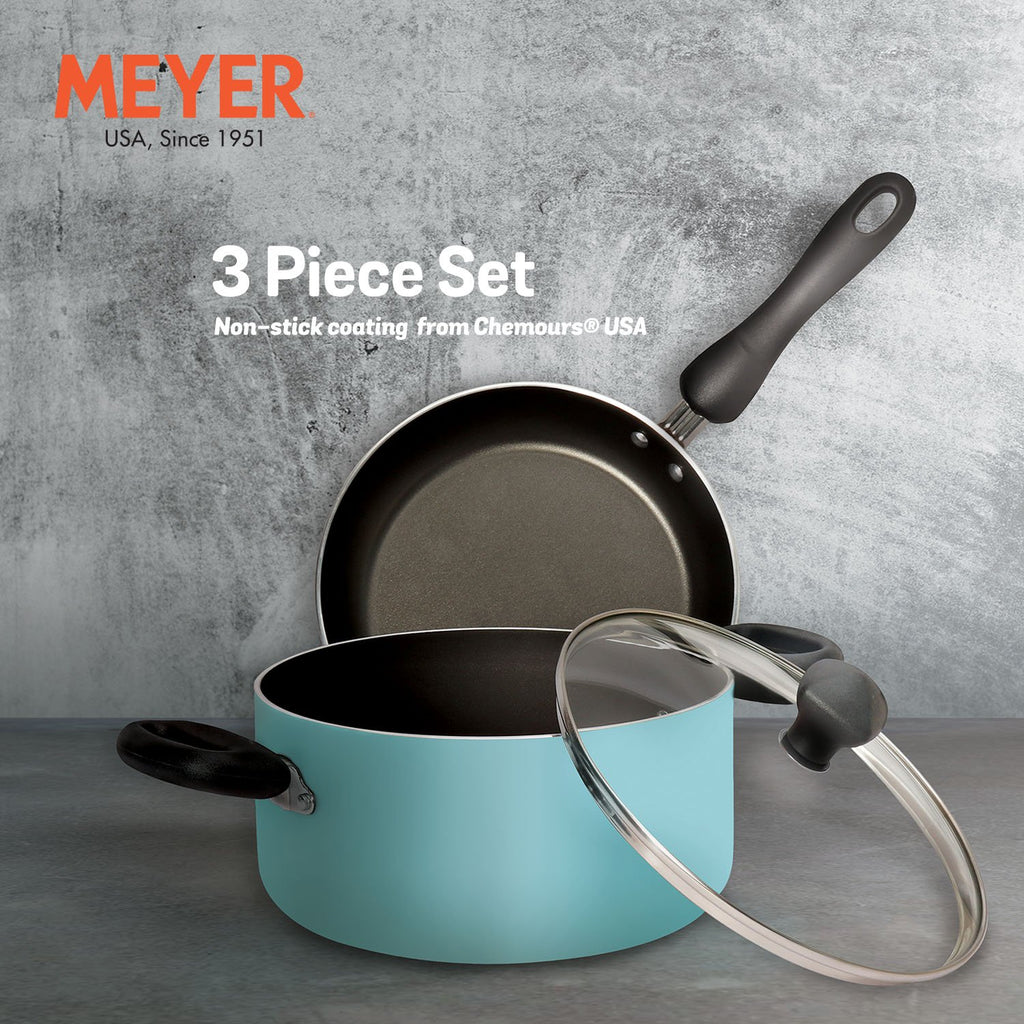 Meyer Non-Stick 3-Piece Cookware Set, Casserole/Biryani Pot + Frypan (Suitable For Gas & Electric Cooktops)