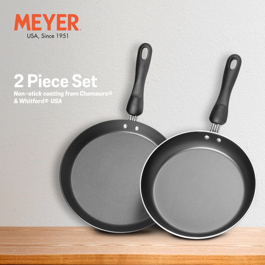Meyer Non-Stick 2-Piece Cookware Set, Frypan + Flat Tawa (Suitable For Gas & Electric Cooktops)