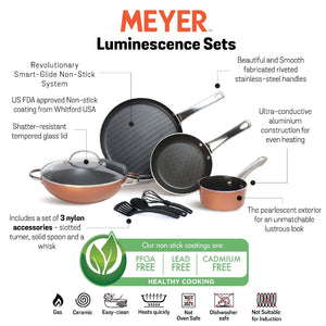Luminescence Non-Stick 8pcs Cookware Set, Copper (Saucepan+Kadai+Frypan+Tawa+Accessories) - Pots and Pans