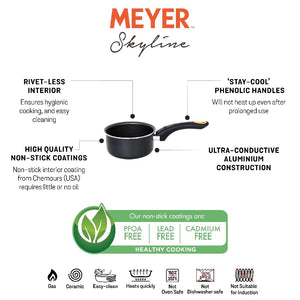 Meyer Skyline Non-Stick Milkpan 16cm, Grey - Pots and Pans