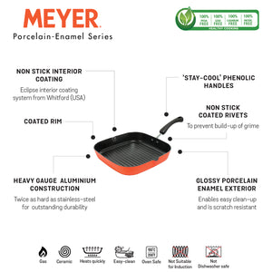 Meyer Non Stick Aluminium Grillpan 28cm, Orange - Pots and Pans