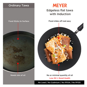 Meyer Non Stick Edge-less Induction Flat Tawa, 30 cm - Pots and Pans