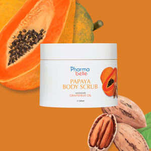 Papaya Body Scrub, apricot kernal oil, pecan shell powder, nourish, silky smooth, ezcema, sensitive, dry skins