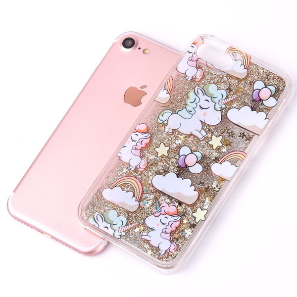 Cute Cascading Glitter Unicorn iPhone Case gold