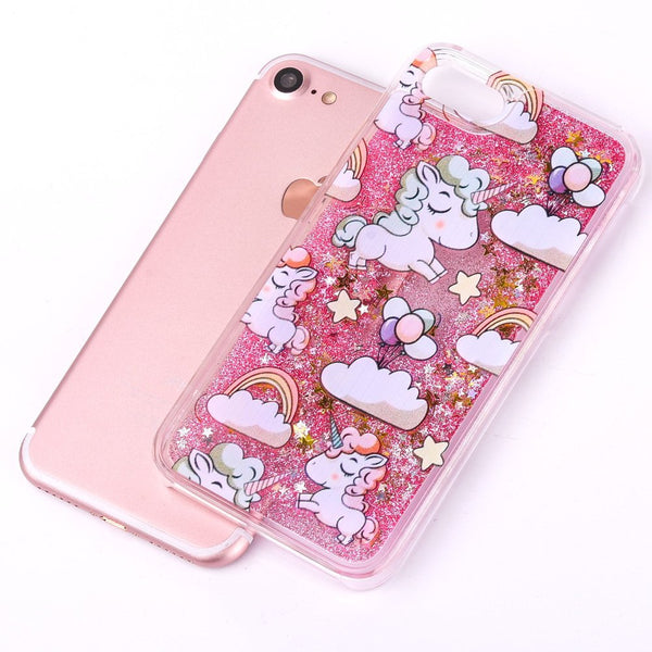 Cute Cascading Glitter Unicorn iPhone Case pink