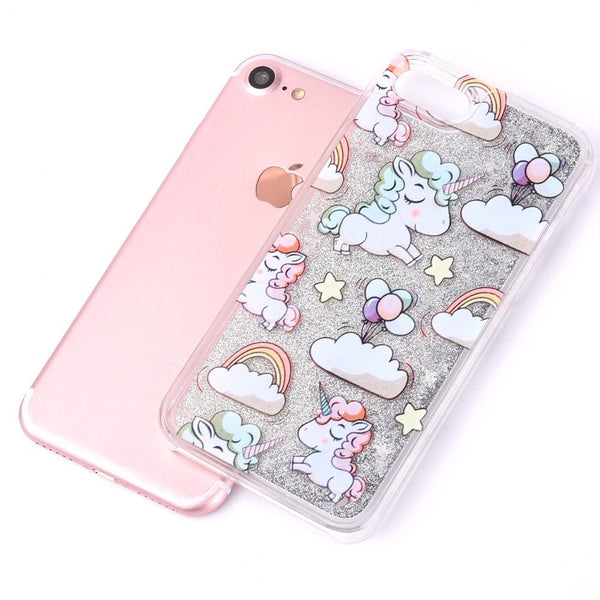 Cute Cascading Glitter Unicorn iPhone Case silver