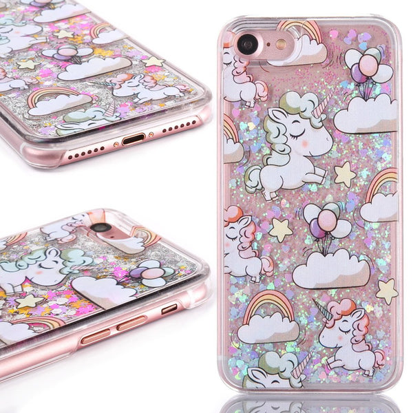 Cute Cascading Glitter Unicorn iPhone Case colorful