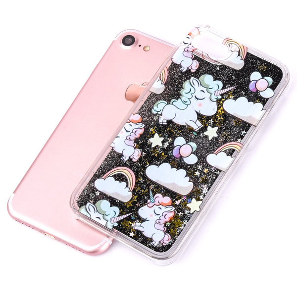 Cute Cascading Glitter Unicorn iPhone Case black