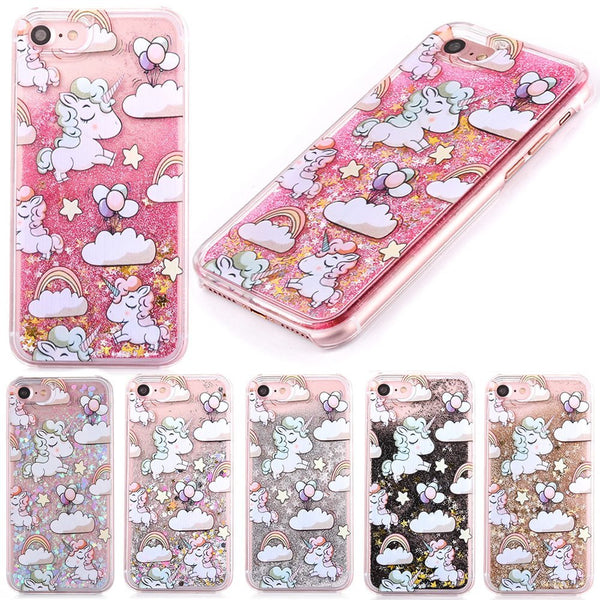 Cute Cascading Glitter Unicorn iPhone Case