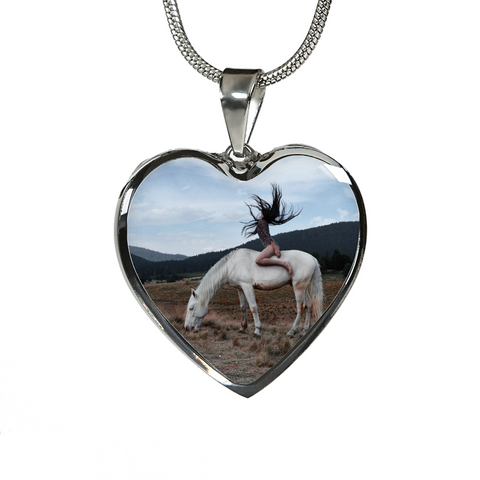 Fan of Horses Wild and Free Silver Necklace