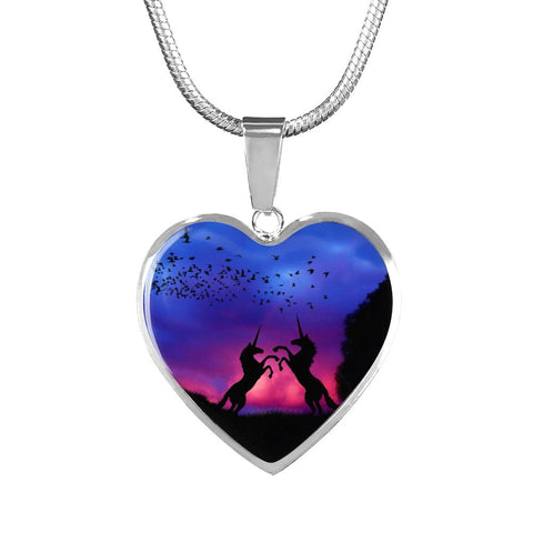 Dancing Unicorns at Dusk Silver Necklace