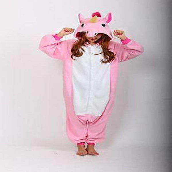 Pink unicorn onesie pajamas with white belly