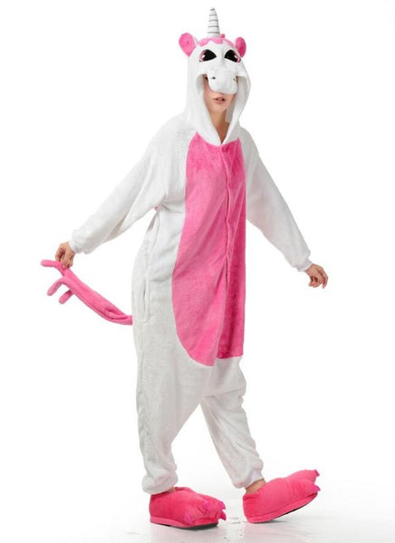 Hot pink and white unicorn pajamas / onesie full body fancy dress