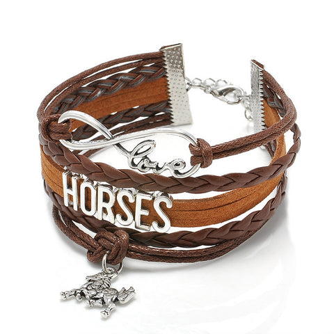 I Love Horses Leather Equestrian Bracelet