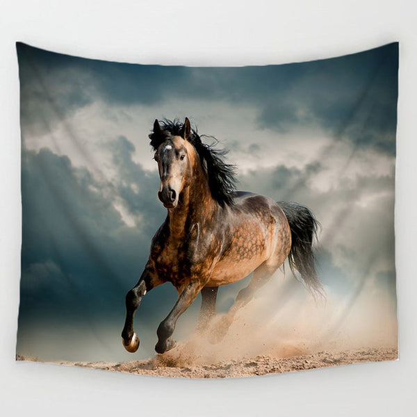 Majestic Galloping Horse Fabric Wall Poster
