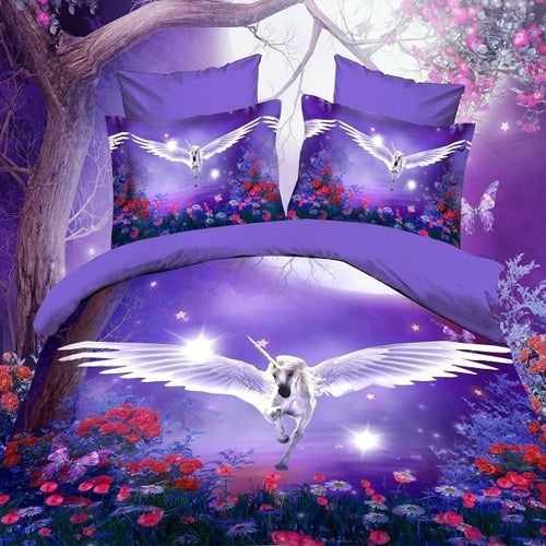 Flying Unicorn Comforter - Queen 4pcs