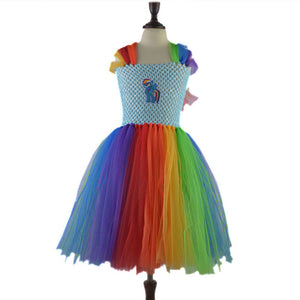 Cute Girls Rainbow Pony Dress Costume