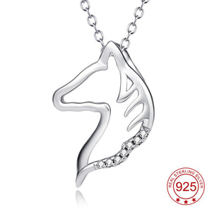 Silver Horse Head Pendant Necklace