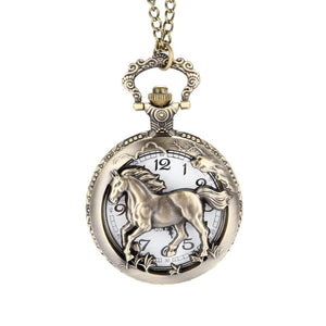 Vintage Horse Pocket Watch Necklace