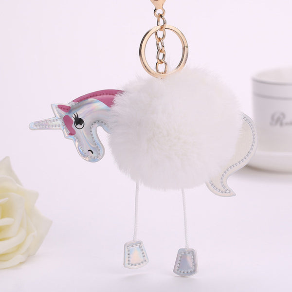 Fluffy Unicorn Pompom Keychain white