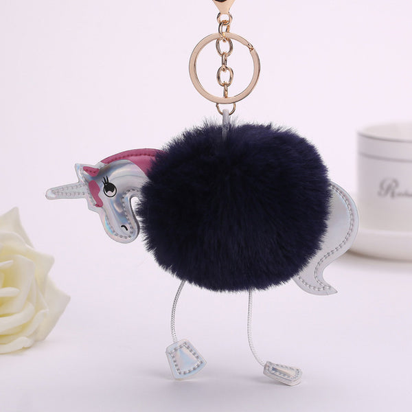 Fluffy Unicorn Pompom Keychain black