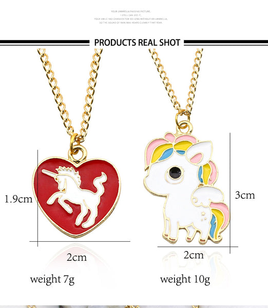 Cute Unicorn Necklace or Unicorn Love Heart Pendant dimensions