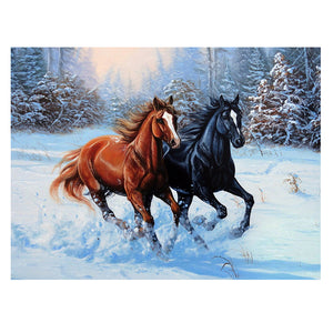 Beautiful Galloping Horses Cross Stitch Embroidery Craft Kit Wall Decoration