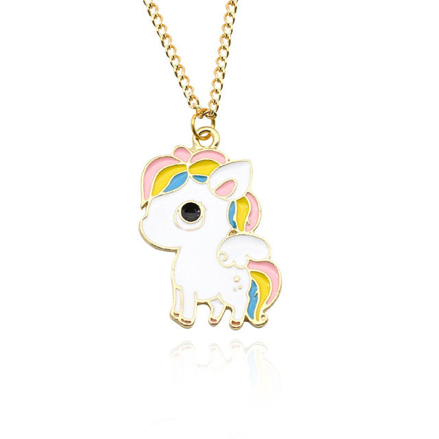 Cute Unicorn Necklace or Unicorn Love Heart Pendant