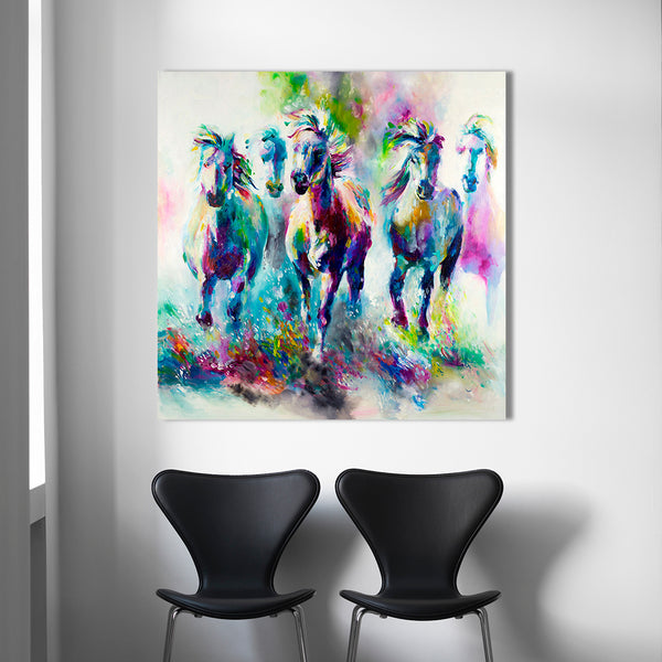 Galloping Rainbow Horses Oil on Canvas