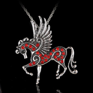 Elegant Crystal Pegasus Necklace