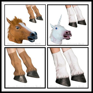 Adult Horse and Unicorn Head Mask and Hoof Gloves