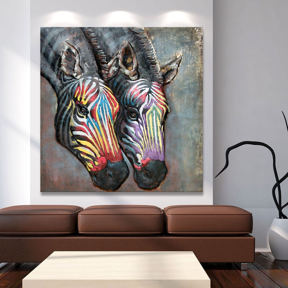 Zebra wall art abstract canvas
